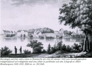 Gammal tecknad bild Barnängens gård